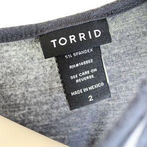 torrid Tops - Torrid || Blue/Gray Detailed Boho Tunic Tank